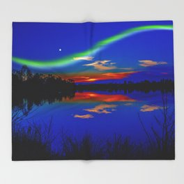 North light over a lake Throw Blanket