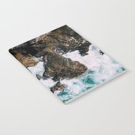 Ocean Waves Crushing On Rocky Landscape, Drone Photography, Aerial Landscape Photo, Ocean Wall Art Notebook