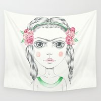 frida kahlo Wall Tapestries featuring frida kahlo by Lisa Bulpin