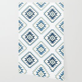 Aztec Style Motif Pattern Blues White Gold Wallpaper