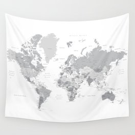 "Gray world map with cities, states and capitals, ""in the city"" Wall Tapestry"