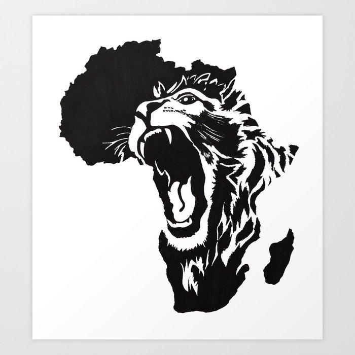 African Lion Art Print By Daliadraws Society6