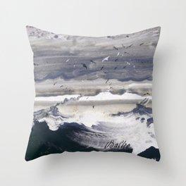 Peder Balke - Stormy Sea - Norwegian Oil Painting Throw Pillow