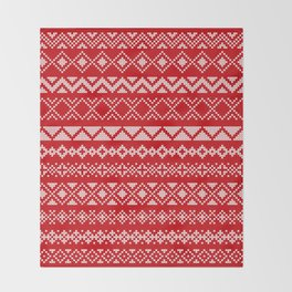 Cross Stitched Traditional Scandanavian Patterns Throw Blanket