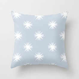 Blue And White Snowflake Pattern Print Throw Pillow