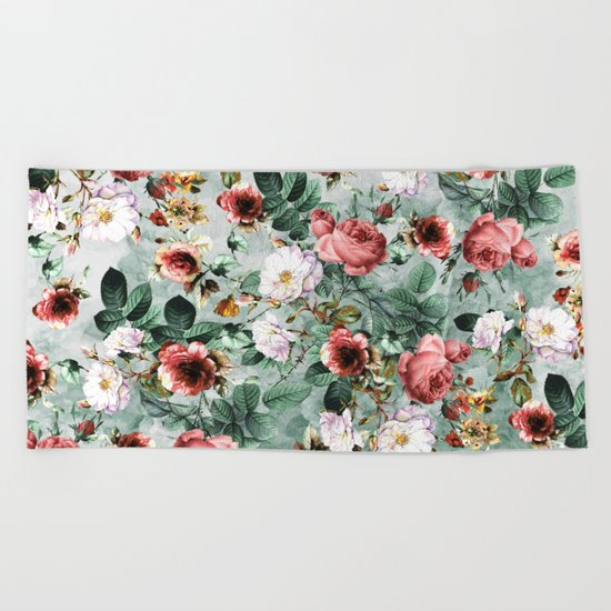 Rpe Seamless Floral Pattern I Beach Towel
