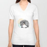 hedgehog V-neck T-shirts featuring Hedgehog by Wood + Ink