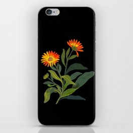 Calendula Officinalis Mary Delany Floral Paper Collage Delicate Vintage Flowers iPhone Skin