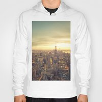 new york skyline Hoodies featuring New York Skyline Cityscape by Vivienne Gucwa