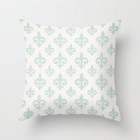 fleur de lis Throw Pillows featuring Fleur-de-lis by Juste Pixx Designs
