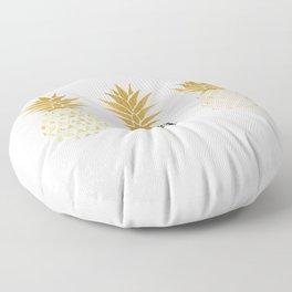 fun pineapple design gold Floor Pillow