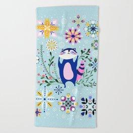 Happy Raccoon Card Beach Towel