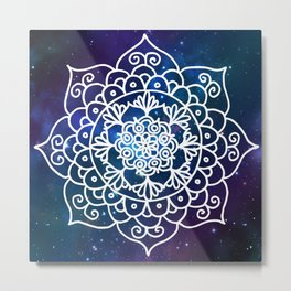 Galaxy Mandala Purple Blue Space Nebula Flower Metal Print