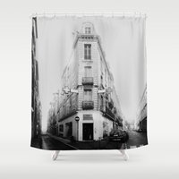 france Shower Curtains featuring Monochrome France by MarioGuti
