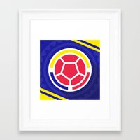 colombia Framed Art Prints featuring Seleccion Colombia by DAN LOZ