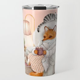 Cozy Hygge Fox Travel Mug