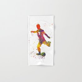 Soccer player isolated 03 in watercolor Hand & Bath Towel