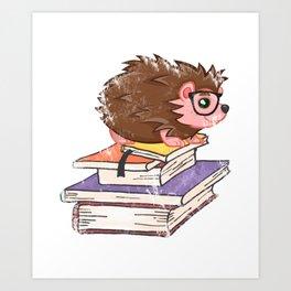 Hedgehog Book Nerd Literary Reading Hedgehogs Book Lover Art Print