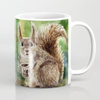 squirrel Mugs featuring Squirrel by Anna Shell
