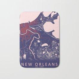 New Orleans, LA, USA, Blue, White, City, Map Bath Mat