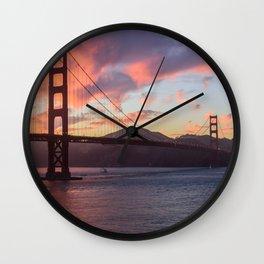 Golden Gate at sunset Wall Clock