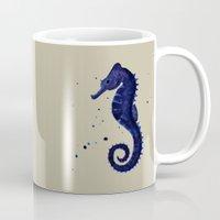 sea horse Mugs featuring Sea Horse by Chrystal Elizabeth