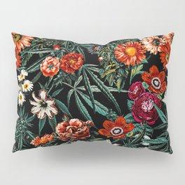 Marijuana and Floral Pattern Pillow Sham