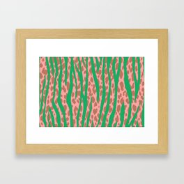 Green Stone Aged Leopard Stripes Pattern Framed Art Print