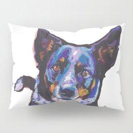 Australian Cattle Dog Portrait blue heeler colorful Pop Art Painting by LEA Pillow Sham