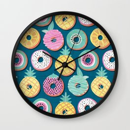 Undercover donuts // turquoise background pastel colors fruit donuts Wall Clock