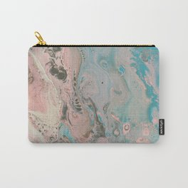 Fluid Art Acrylic Painting, Pour 17, Pastel Pink, Blue, Gray & White Blended Color Carry-All Pouch