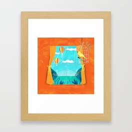 The sight of bridges and balloons makes calm canaries irritable  Framed Art Print