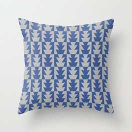 Art Deco Jagged Edge Pattern Blue and Gray Throw Pillow