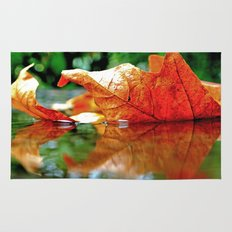 Autumn leaf reflected Rug