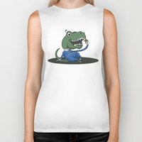 trex Biker Tanks featuring Fantastic Mr. TRex by Megan Yiu