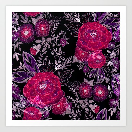 Pink roses on black background . Art Print