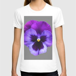 GREY MODERN ART SINGLE PURPLE PANSY T-shirt