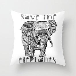 Save the elephants shirt Throw Pillow