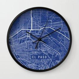 El Paso Map, USA - Blue Wall Clock
