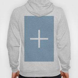 white cross on placid blue background Hoody