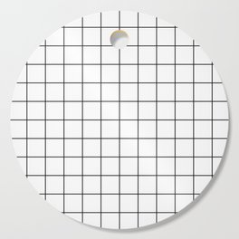 Grid Simple Line White Minimalist Cutting Board
