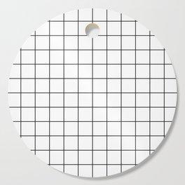 Grid Pattern Stripes Lines Black and White Minimalist Geometric Stripe Line Cutting Board