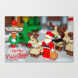 Santa and Rudolf Canvas Print