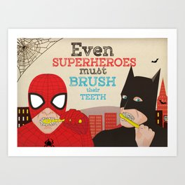 Super Heroes brushing Teeths Art Print