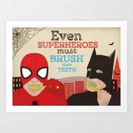 Super Heroes brushing Teeths Art Print