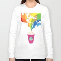 starbucks Long Sleeve T-shirts featuring Starbucks Pop Art by Tiffany Taimoorazy