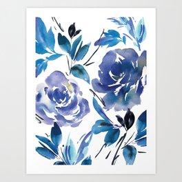 Royal Blue Garden 01 Art Print