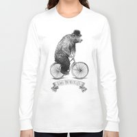 bicycles Long Sleeve T-shirts featuring Bears on Bicycles (Lime) by Eric Fan