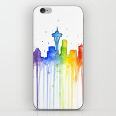 Seattle Skyline Rainbow Watercolor iPhone & iPod Skin