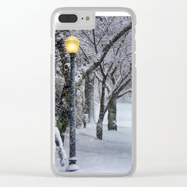 Street Lamp in the Snow Clear iPhone Case